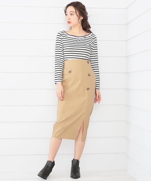 [Ninarobe] トレンチ風ミモレ丈タイトスカート