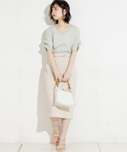 [natural couture] 75cm丈ベルト付きカットタイトスカート