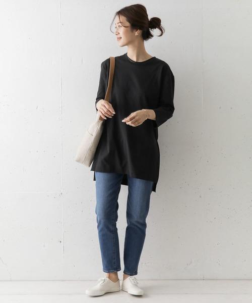 チュニックTシャツの秋コーデ