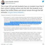 2020年9月以降オンライン授業のみを実施している学校の留学生はアメリカ滞在を認めず アメリカ移民税関捜査局が発表