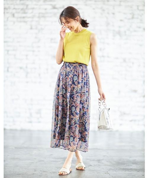 [tocco closet] ペイズリーシフォンギャザースカート