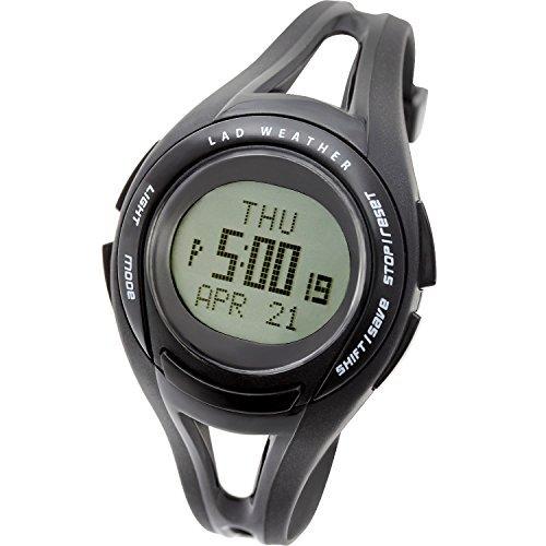 [ラドウェザー] スポーツウォッチ 超軽量31g 速度や距離 タイムが測れる腕時計 初心者に lad001 ブラック