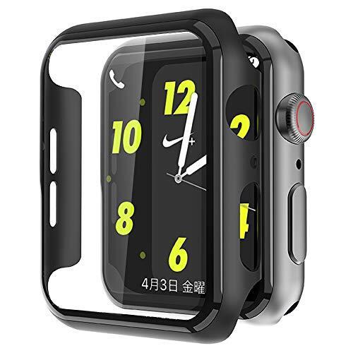MAESTO Apple Watch Series 5 / Series 4 44mm ケース, Apple Watch 超薄型フィルム 3D全面保護 液晶全面保護カバー 日本旭硝子材 傷防止 耐衝撃PCフレーム 2020 新しい アップルウォッチシリーズ 5/4 44mm ケース(ブラック)