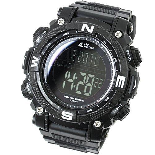 [ラドウェザー]ソーラー腕時計 メンズ時計 デジタルウォッチ ミリタリー 100m防水 サバゲ― ストップウォッチ (ブラック(反転液晶))