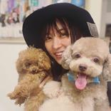 石川恋、愛犬らを抱っこする幸せいっぱいな笑顔ショット
