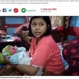 「神の奇跡」で妊娠1時間後に出産したと主張する母親(インドネシア)