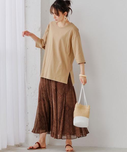 [green label relaxing] SC BIG チュニック Tシャツ 6分袖