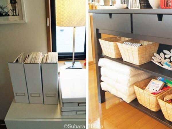 ボックスやカゴといった収納グッズを使ってオープン棚にポンと置くだけで片付く