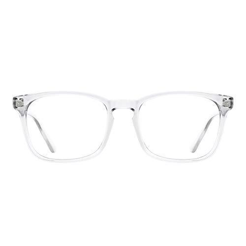 TIJN ブルーライトカットメガネ[透明レンズ]PCメガネ 四角い眼鏡 紫外線カット 目の疲れを緩和 男女兼用