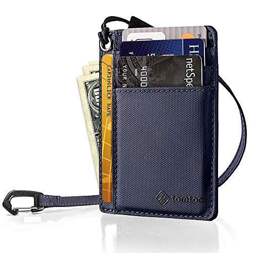 tomtoc カードケース 7枚カード入れ 薄型 キャッシュ収納 カードホルダー、 ダークブルー