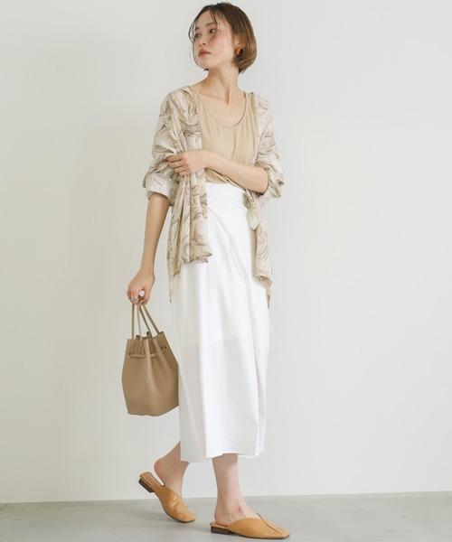 [select MOCA] リネンライクラップスカート/ミモレ丈ウエストリボンバックスリットスカート