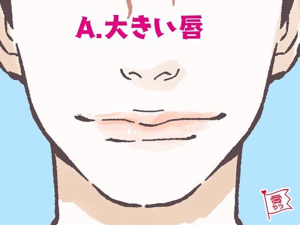 A:「大きい唇(黒目の両端からはみ出すくらい)」を選んだあなた……