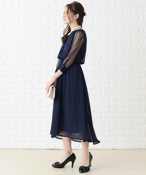 [Lace Ladies] ドットチュール袖ワンピース・ドレス
