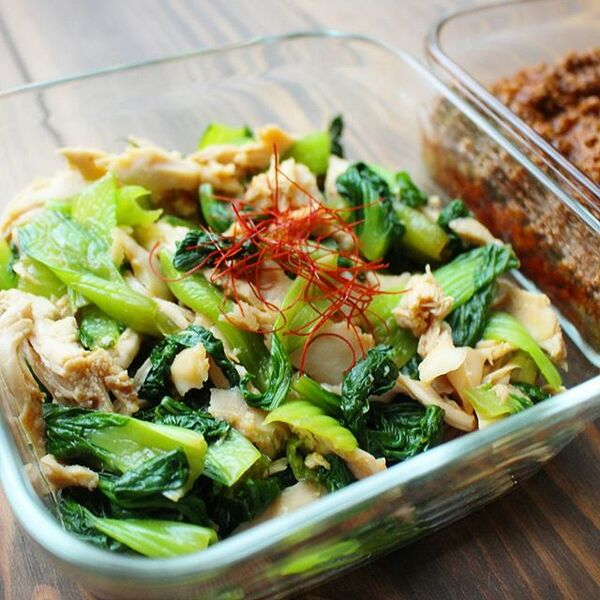 活用レシピ!青梗菜とサラダチキンの辛子和え