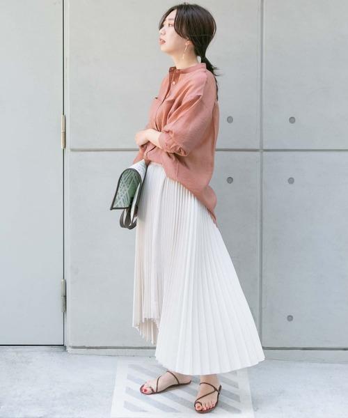 シアーシャツチュニック×プリーツスカート