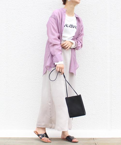 バンドカラーシアーシャツ×ロングスカート