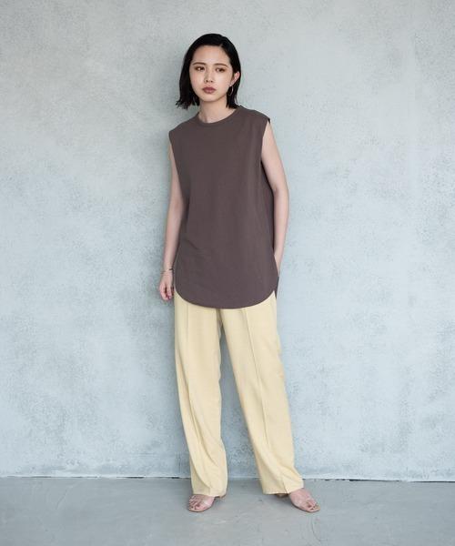 [YARD PLUS/AUNT MARIE'S] AUNT MARIE'S 裾ラウンドスリットノースリーブTシャツ