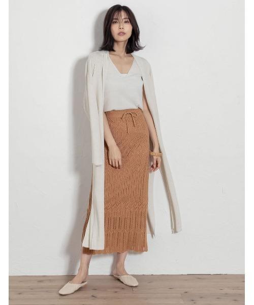 [Re:EDIT] [低身長向けSサイズ対応]かぎ編みニットスカート