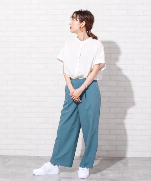 [coen] バックタックフレンチスリーブバンドカラーシャツ#