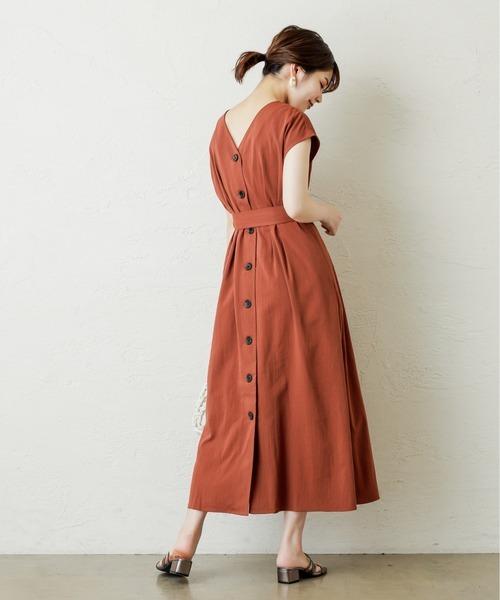 [natural couture] フロント釦ノースリーブワンピース Mサイズ