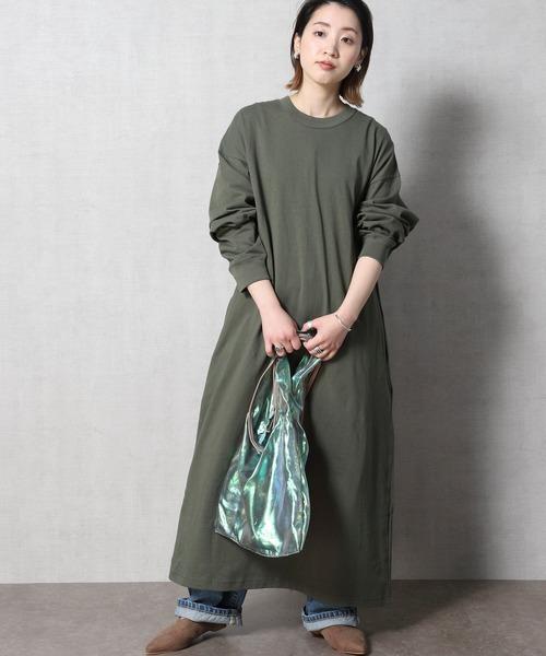 [FREAK'S STORE] 【WEB限定】ビッグシルエット マキシ丈Tシャツワンピース