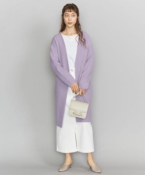 ニットガウン×白スカートの11月コーデ