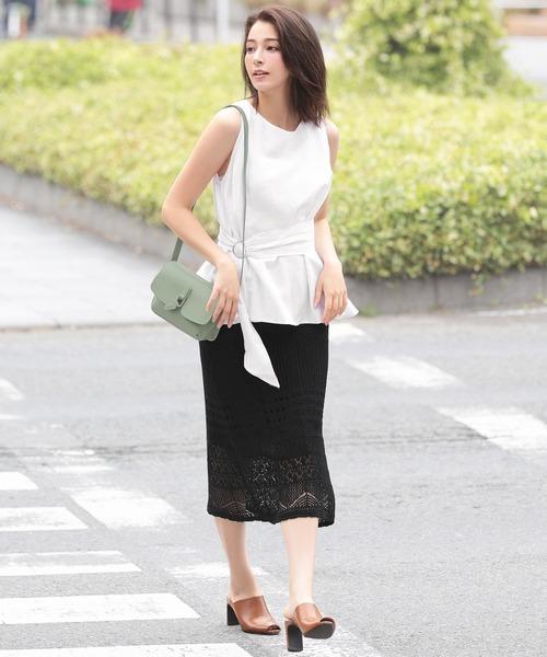 [Ninarobe] かぎ針編みタイトロングスカート
