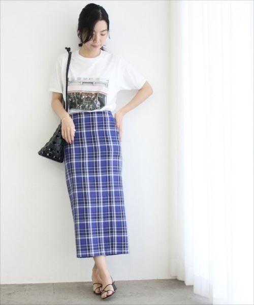 [ADAM ET ROPE'] カラーチェックタイトスカート