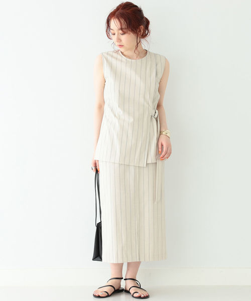 [BEAMS WOMEN] BEAMS LIGHTS / デザイン ポケット ストライプ スカート