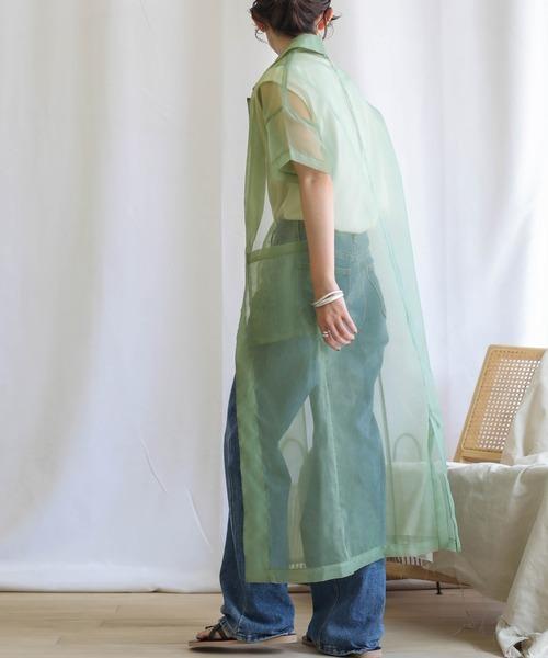 [select MOCA] 2020 S/S オーガンジーシャツガウン/ハーフスリーブロングシアーシャツ