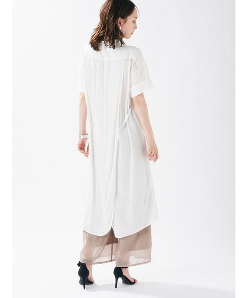 [DRWCYS] スタンドバックラップロングシャツ