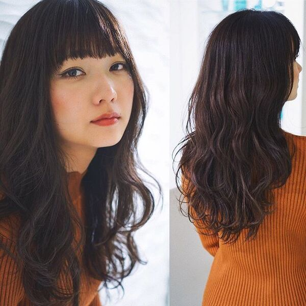 黒髪×華やかパーマ