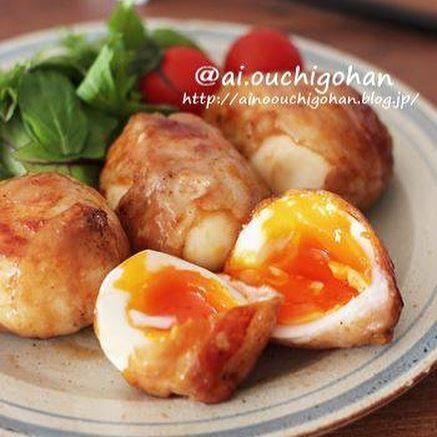 ゆで卵の肉巻き生姜焼き