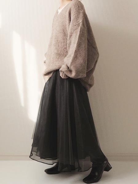 [Auntie Rosa] 【LA BELLE ETUDE】【Belle vintage】ベルトデニムドッキングボリュームチュール×オーガンジースカート