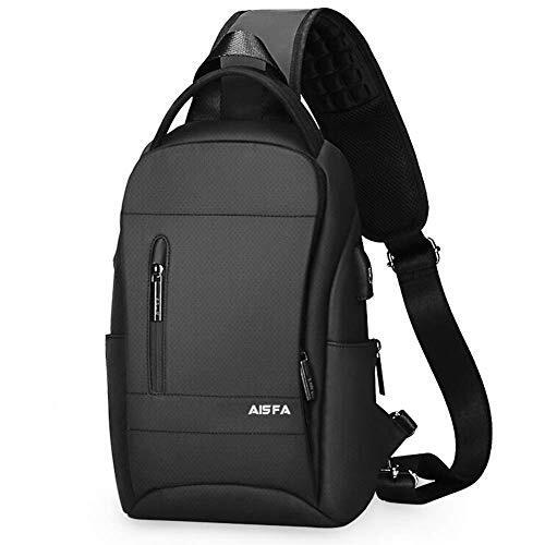AISFA ショルダーバッグ ボディバッグ ワンショルダー 斜めがけバッグ ワンショルダーバッグ ボディーバッグ メンズ iPad収納可 USBポート イヤホン穴付き(ブラック)