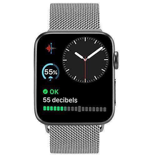 ATUP メタルバンドコンパチブル Apple Watch バンド 38mm 40mm 42mm 44mm,ミラネーゼループ アップルウォッチバンド,コンパチブル iWatch 通用ベルト apple watch series 5/4/3/2/1に対応 交換ベルトステンレス製 (42mm/44mm, シルバ)
