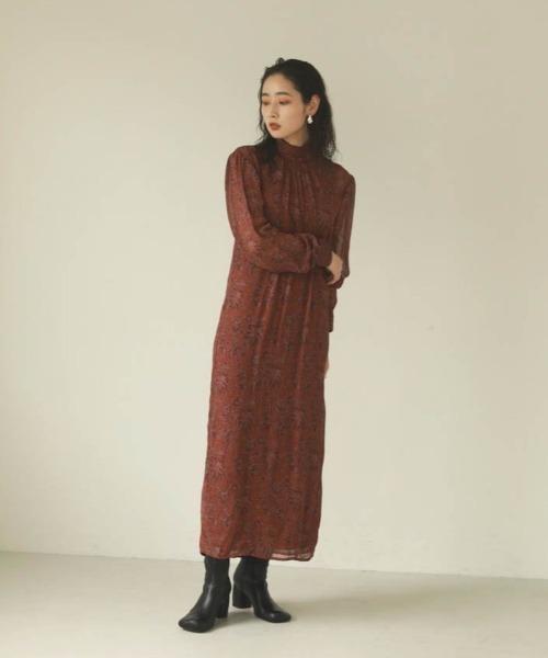 [TODAYFUL] ジョーゼットリーフドレス