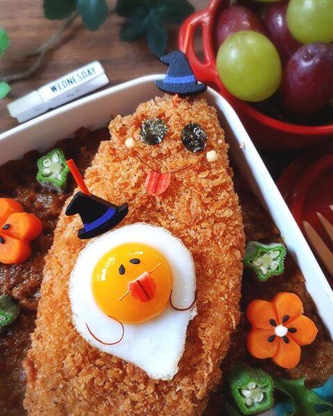 可愛い!白身魚フライ&うずら卵のお化け弁当