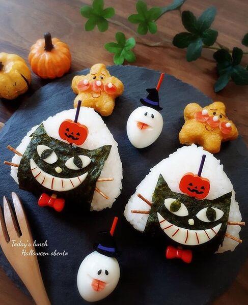 ハロウィンに可愛い黒猫ちゃん弁当