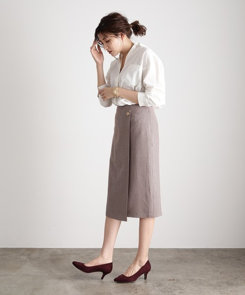 [ViS] 【EASY CARE】アシメラップIラインスカート