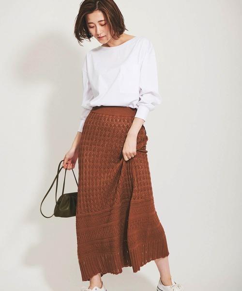 [The Virgnia] 編み柄クロシェニットスカート