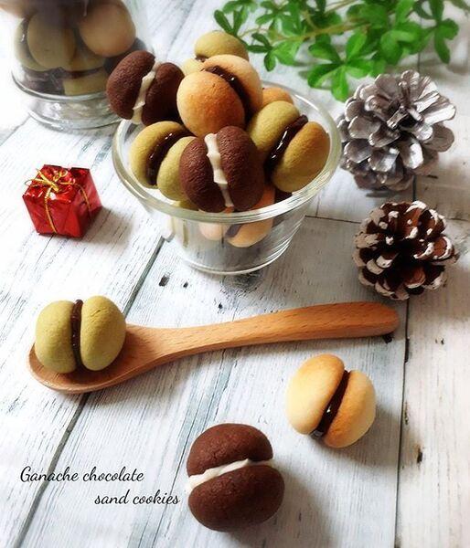 ココア抹茶のガナッシュサンドクッキー