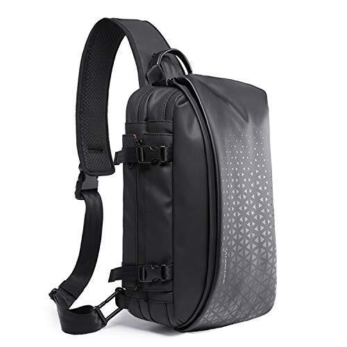 JunLTX ボディバッグ メンズ 大容量 防水 斜めがけ ショルダーバッグ 鞄 かばん男性用 左右肩掛け可能 盗難防止 iPad収納可能 (A.ブラック&黒)
