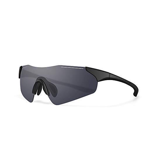 スポーツサングラス 偏光レンズ 野球 自転車 登山 釣り ゴルフ ランニング ドライブ バイク テニス スキー 超軽量 紫外線防止 メンズ レディース 保護 安全 清晰 UV400 TAC TR90 (ブラック)