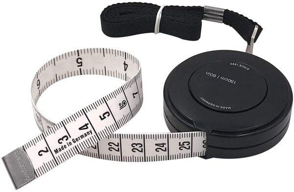 FEELCAT 巻き尺 自動巻取り式 150cm/60inch 巻尺 テープメジャー 両面用 テーラーメジャー オートメジャー 周囲測定用 縫製テーラー定規 ソフトルーラー 裁縫用 手芸用 (ブラック)
