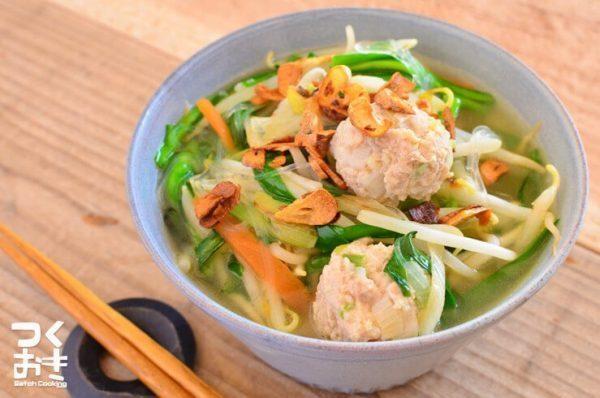 人気レシピ!エスニック風鶏団子春雨スープ