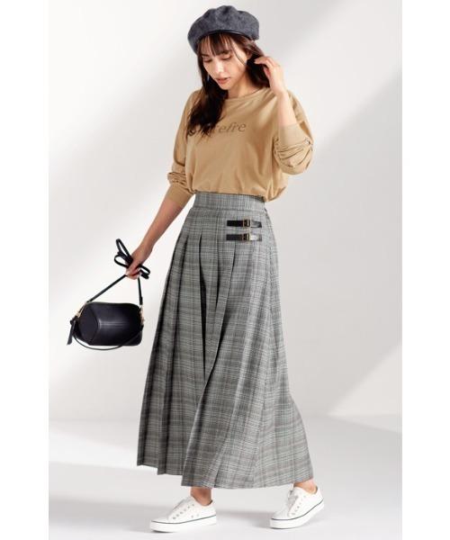 [GeeRA] 【20秋冬新着】合皮ベルトデザインプリーツスカート