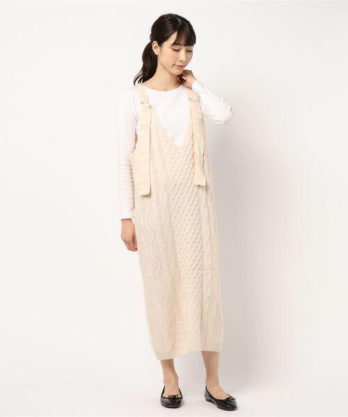 [Dorry Doll/ Luxe brille] ハニカム ケーブル柄編み ニットジャンパースカート