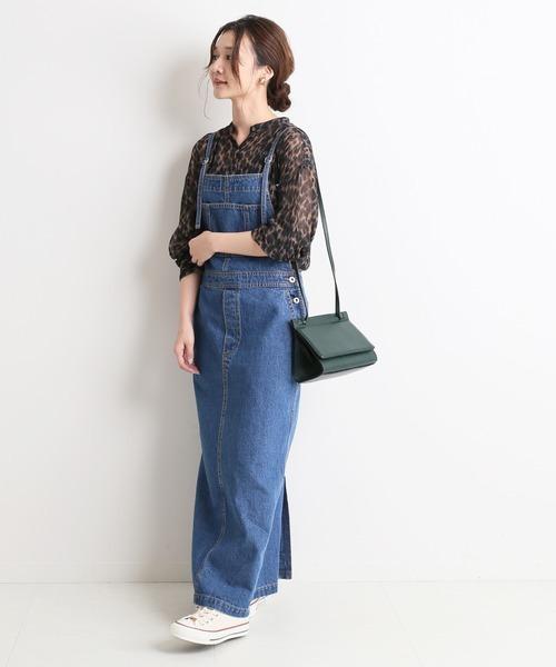 [IENA] LE DENIM ロングジャンパースカート【洗濯機洗い可能】◆