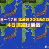 猛暑日200地点以上4日連続 静岡県浜松市では2日連続で40℃以上